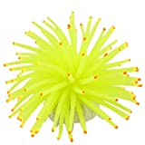 uxcell Round Ceramic Base Soft Silicone Aquarium Coral Ornament, Yellow/Green