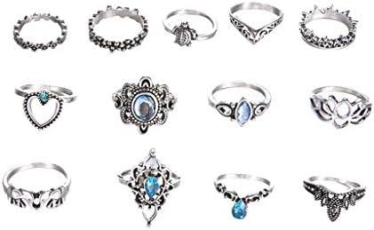 Qiiueen Anillos Mujer, Tendencia de Moda de Metal Retro Plata Azul ...