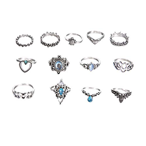 (TIFENNY Fashion Vintage Ring Trend Metal Retro Silver 13 Piece Set Blue Zircon Joint Ring Jewelry Ornament (Silver, 1.5-1.7cm))