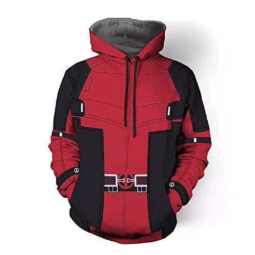 Joyfunny DP Hoodies Super Hero Movie Cosplay Costume Black Red Hoodie for Unisex Adult Type B XL -