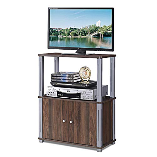 Tangkula TV Stand, Multipurpose Sturdy Shelf Media Stand Storage Display Rack for Home Office Display Cabinet TV Entertainment Center Console with Shelf and Cabinet (Walnut)