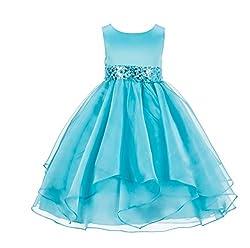 Asymmetric Ruffled Organza Sequin Dress