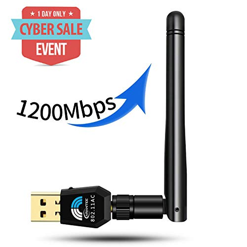 USB Wifi Adapter 1200Mbps, CARANTEE USB 3.0 Wireless Network Wifi Dongle with 5dBi Antenna , Dual Band 2.4G/5G 802.11ac,Support Windows 10/8/8.1/7/Vista/XP/2000, Mac10.5-10.13