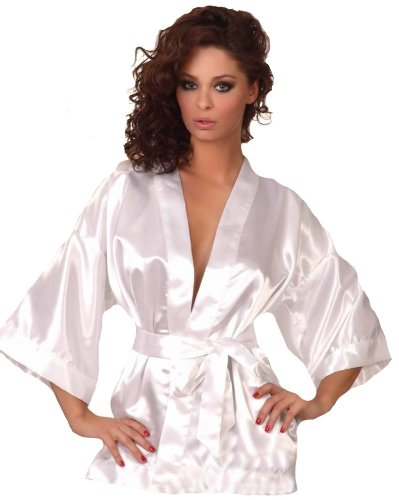 Beautiful White Satin Short Dressing Gown With Matching Belt And ...