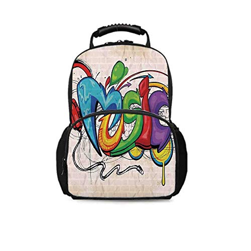 Music Decor Leisure School Bag,Illustration of Graffiti Style Music Lettering Headphones Hip Hop Rhythm Tempo Hipster Concept for School Travel,One_Size