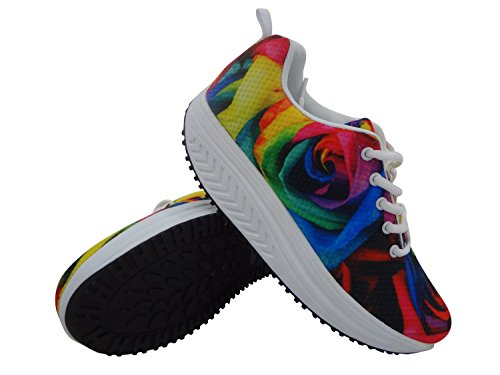 Casual Platform Shoes for Women Sport Walking Sneakers Camouflage Swing Shape Up Pattern 1 AQh6D