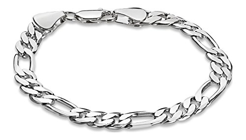 The Bling Factory 7.8mm Rhodium Plated Figaro Bracelet, 8