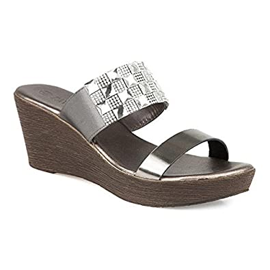 423a956b30ac Pavers Metallic Wedge Mule Embellishment 305 345 - Pewter Size 9 ...