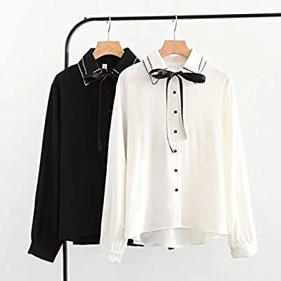 GAOLIM Las Mujeres De Gran Tamaño De La Camisa Blanca De Primavera Femenina Camisa De Doble Cuello Bordado Flojo Doble, 3XL, Negro: Amazon.es: Deportes y aire libre