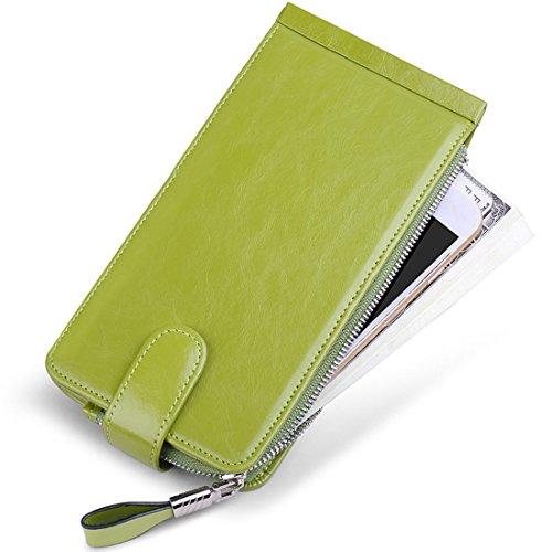 Holder Case Womens Purse Wax Huztencor Credit Oil Wallet Blocking Leather Card Women Rfid Green I7zdq