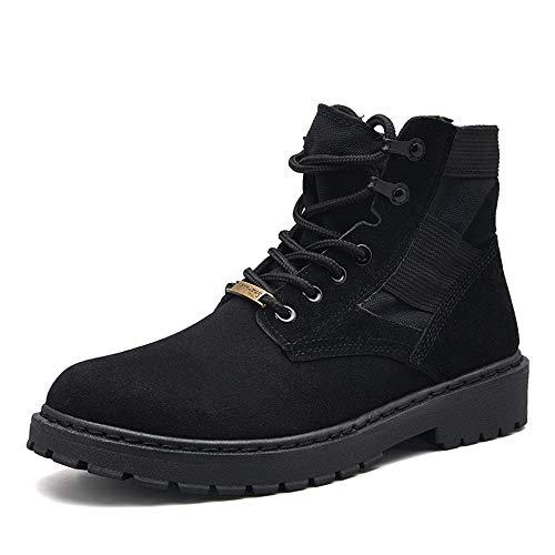 Et Décontractée Top Mode Bnd Pour Bottes shoes Outsole Rubebr Hommes Lace High Classique Noir Chaussures Pure La Couleur Durable; De Travail Up L'usure Simple Supporter wT8Pqx0T