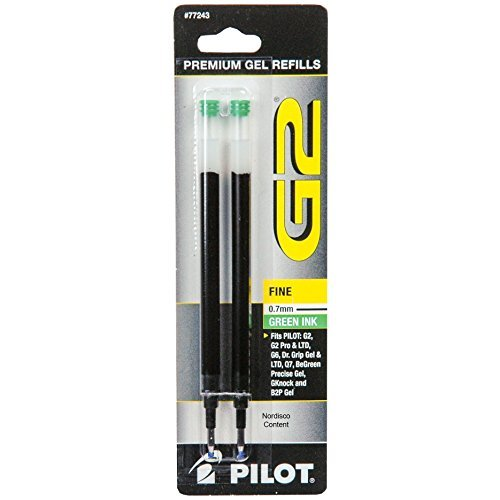 Pilot G2 Refills, Green Gel Ink, 0.7mm Fine Pt., 6 Packs of Refills Plus 1 Pilot G2 0.7 Fine Pt. Green Ink Pen and 1 Pilot B2p Green Ink Pen