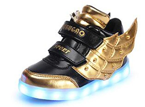 Price comparison product image Littlepanda Kid girl LED light up sneaker athletic wings shoe High Student dance Boot USB Charge (3 (M) US Little Kid, black golden)