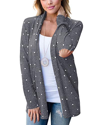 (Eshavee Womens Long Sleeve Polka Dot Elbow Patch Shawl Collar Tops Blouses Sweaters Cardigans)