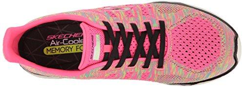 Skechers Sport Womens Studio Burst Realtà Virtuale Moda Sneaker Neon Rosa / Nero