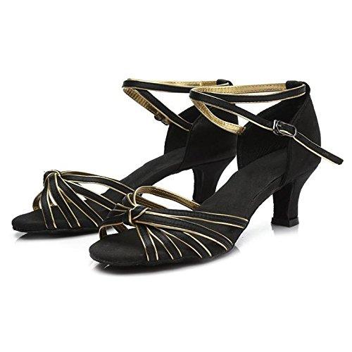 HROYL Zapatos de baile/Zapatos latinos de satén mujeres ES7-F17 5CM Negro y oro