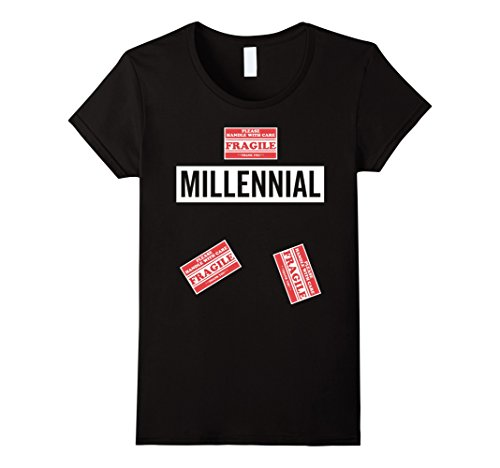 [Womens Funny Millennial Costume halloween shirt joke gift Small Black] (Joke Halloween Costumes)