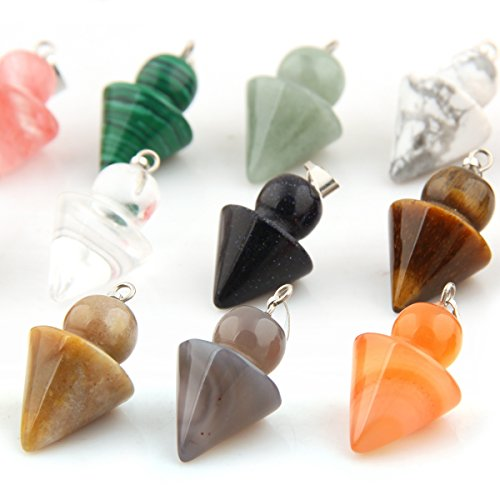 12pcs Charms Chakra Stone Pendulum Circular Cone Chakra Crystal Healing Pointed DIY Beads Pendant for Necklace Jewelry Making