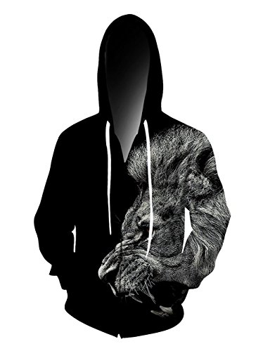 RAISEVERN Unisex 3D Animal Cool Lion Face Printed Zip Up Hooded Pullover Sweatshirt Jacket -