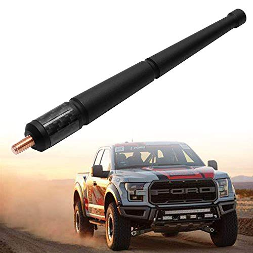 KSaAuto Antenna Fits Ford F-150 Raptor 2009 2010 2011 2012 2013 2014 2015 2016 2017 2018 2019 Trucks | 6.4 Inches Carbon Fiber Bottom Antenna Mast Replacement | Designed for Optimized FM/AM Reception