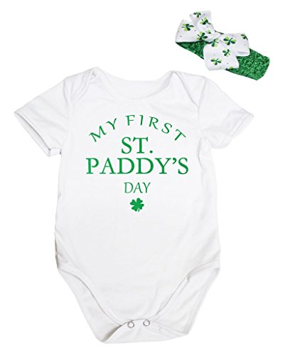 Petitebella My First St. Paddy's Day White Bodysuit Romper Nb-18m (3-6 (St Patricks Outfits)