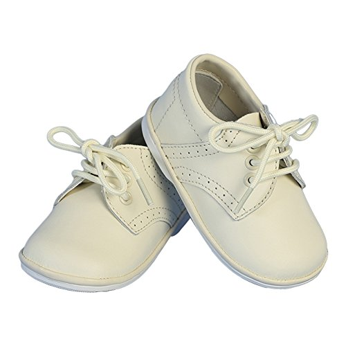 (Angels Garment Boys Ivory Stitch Leather Christening Shoes 4)