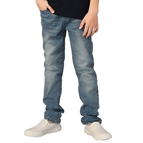 Leo&Lily Boys' Kids' Elastic Waist Husky Stretch Denim Jean (Vintage -