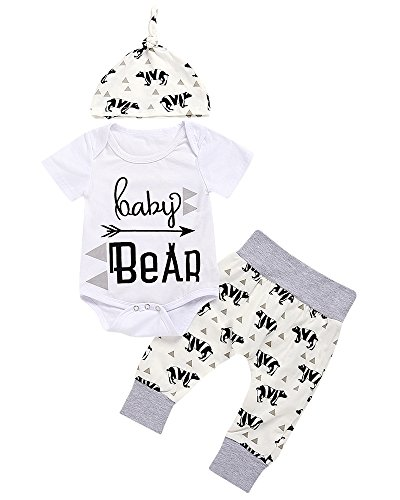 3 Piece Unisex Toddler Infant Newborn Kids Baby Bear Romper Geometry Pants Hat Outfits Clothes Sets (White, 0-3Months)
