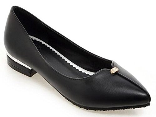 Chfso Womens Chic Strass Solido Attillato Slip On Low Top Low Chunky Heel Black Pumps