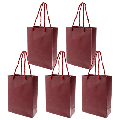5pcs Paper Gift Bags with Handles ote Bag Treat Goodie Bag Candy Gift Bag for Wedding Event Party Shopping Pouch - Wine Red