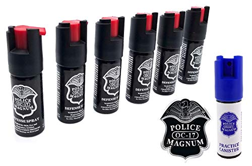 Police Magnum 6 Pepper Spray 1/2 Ounce with Safety Lock Self Defense The Inert Practice Canister for Training