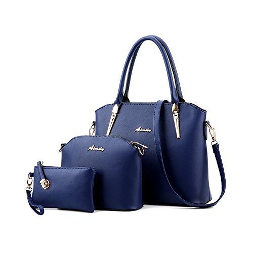Blue Borse 3 Tisdain Set Moda semplicistico Stile Borsa Deep messenger di a borse Borsa modello Portafoglio mano Nuovo Femminile wxqUCgx4