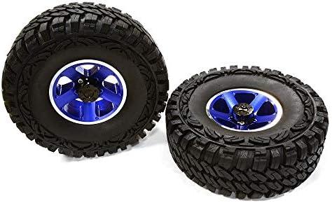 Integy RC Model Hop-ups C26382BLUE Billet Machined S5 Spoke 1.9 Wheel & Tire Set (2) for Scale Crawler (O.D.=113mm)