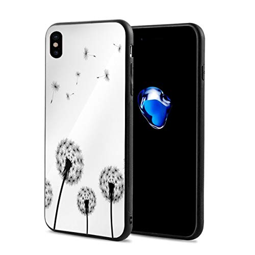 Phone Case Cover Compatible with iPhone X XS,Monochrome Black Flower Silhouettes Wind Effect Blowball Plant Pollens Nature,Compatible with iPhone X/XS 5.8
