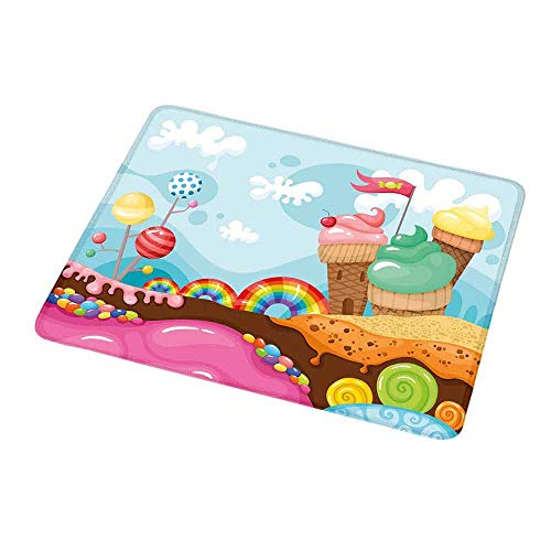 Mouse Pad Ice Cream Decor,Dessert Land with Rainbow Candies Lollipop Trees Cupcake Mountains Cartoon,Non-Slip Thick Rubber Mousepad Mat 9.8