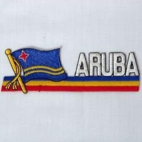 Aruba Sidekick Word Country Flag Iron on Patch Crest Badge .. 1.5 X 4.5 Inches ... New