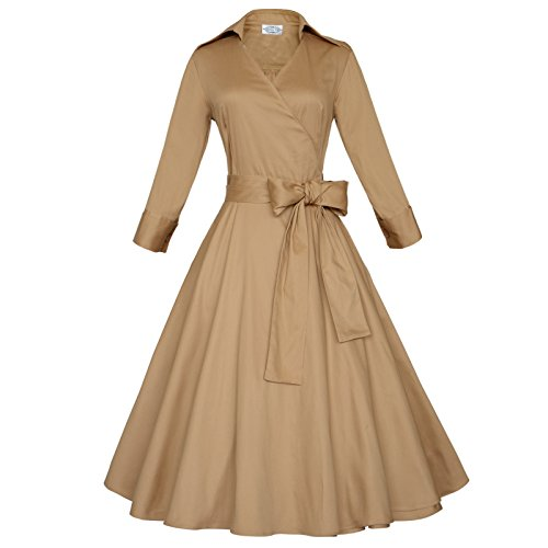 Maggie Tang 3/4 Sleeve 50s 60s Vintage Swing Rockabilly Dress Khaki S (Bridesmaid Dresses Khaki)