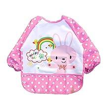 M-Egal Unisex Infant Toddler Baby Waterproof Sleeved Bib Pocket Animals Pattern pink rabbite