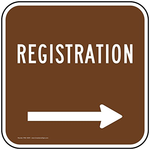 - Registration [Right Arrow] Sign, Brown Reflective, 24x24 in. with Center Holes on 80 mil Aluminum for Recreation by ComplianceSigns