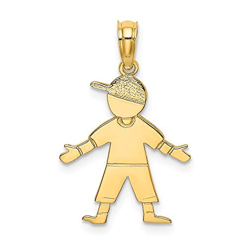 - FB Jewels 14K Yellow Gold Boy with Baseball Cap Pendant