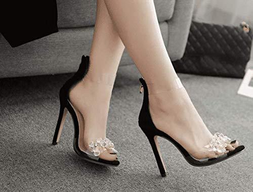 AWXJX Sommersaison Frauen Frauen Frauen Flip Flops Künstliche Diamanten Transparente Manuelle High Heel Schwarz 7 US 37.5 EU 4.5 UK b04458