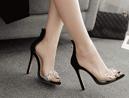 AWXJX Sommersaison Frauen Flip Flops Flops Flops Künstliche Diamanten Transparente Manuelle High Heel Schwarz 6 US 36 EU 3.5 UK c65b95