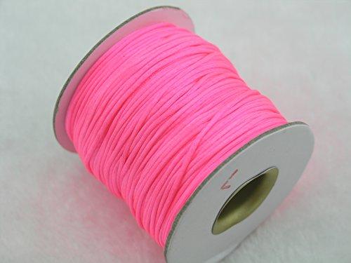 Neon Silk - KONMAY 80 Yards 1.0MM Rattail/Bugtail Satin Silk Cord Shamballa Macrame Beading Nylon Kumihimo String (Neon Pink F103)