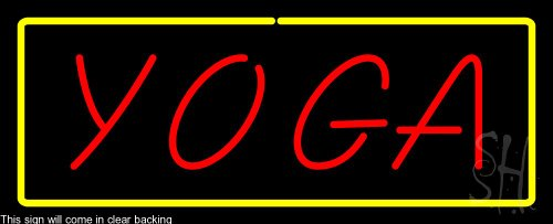 - Red Yoga Yellow Border Clear Backing Neon Sign 13