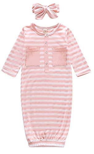 JELLYKIDS Newborn Baby Girl Stripe Pocket Long Sleeve Sleepwear with Headband Stripe Nightgown Sleeping Bag Pajamas Set Size 0-6 Months/Tag70 (Pink)