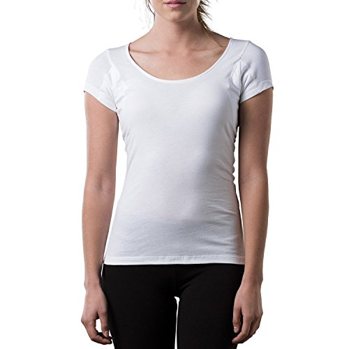 Sweatproof Undershirt for Women w/Underarm Sweat Pads (Original Fit,Scoop Neck) White