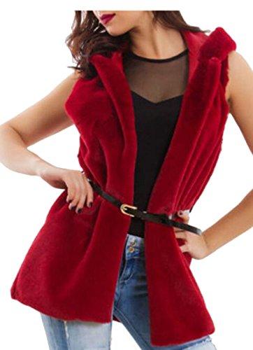 Red Warm Vests Faux Womens Autumn Fur Winter today Wine Outwear UK Jacket x7qPgP
