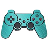 Teal Aqua Wavy Lines Design Background PS3 Dual Shock wireless controller Vinyl Decal Sticker Skin by Moonlight Printing