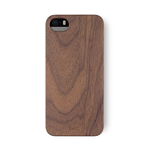 iATO iPhone SE / 5s / 5 Wooden Case - Real Walnut Wood Grain Premium Protective Shockproof Slim Back Cover - Unique, Stylish & Classy Thin Snap on Bumper Accessory Designed for iPhone SE / 5s / 5 (Grain Iphone 5 Wood)