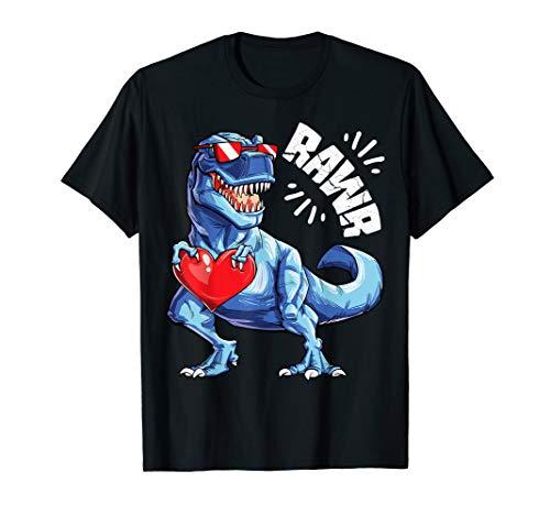 Valentines Day Dinosaur RAWR shirt Gifts Boys Kids Tshirt
